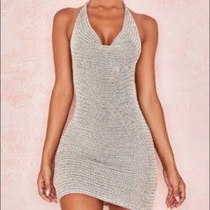 Saffron Stone Cowl Neck Crochet Dress
